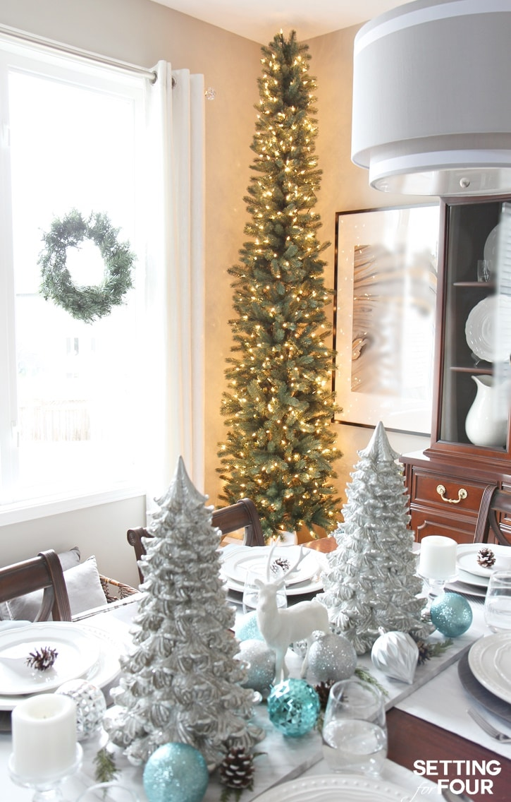 see how you can decorate any narrow spot in your home with a pencil christmas tree - Pencil Christmas Tree Decorating Ideas