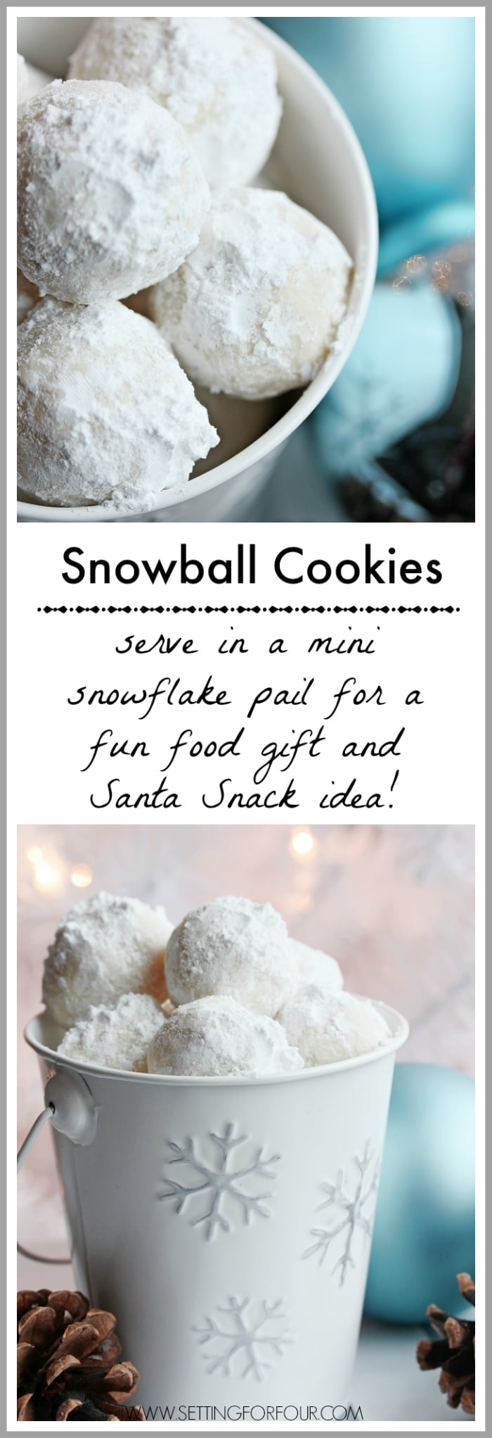Yummy Snowball Cookies recipe - fun food gift and Santa Snack idea to make for Christmas! www.settingforfour.com