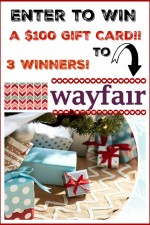 Amazing GIVEAWAY! Enter now to WIN one of THREE $100 Wayfair Gift Cards for the holidays! THREE Winners! Keep for yourself or gift it! www.settingforfour.com