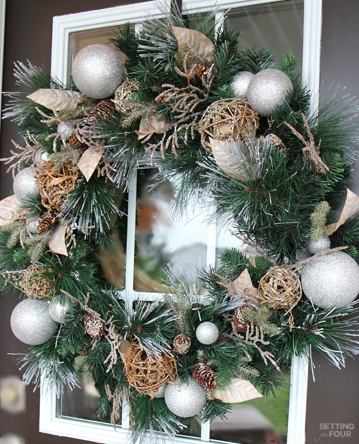 Welcome to my Woodland Chic Christmas home tour with Country Living Magazine! See my Christmas front door wreath and get tons of decor ideas using glam, shimmer, metallics and shine mixed with lots of natural elements, woodland icons and neutrals! www.settingforfour.com