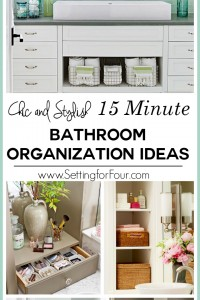 Is a cluttered bathroom slowing you down? Here are five chic and stylish ways to organize the bathroom in just 15 minutes! These are easy tips on how to streamline and organize your towels, toiletries and bath necessities with five smart storage ideas - that are pretty too. You'll have your bathroom counter tops and cabinets tidy in a jiffy! www.settingforfour.com