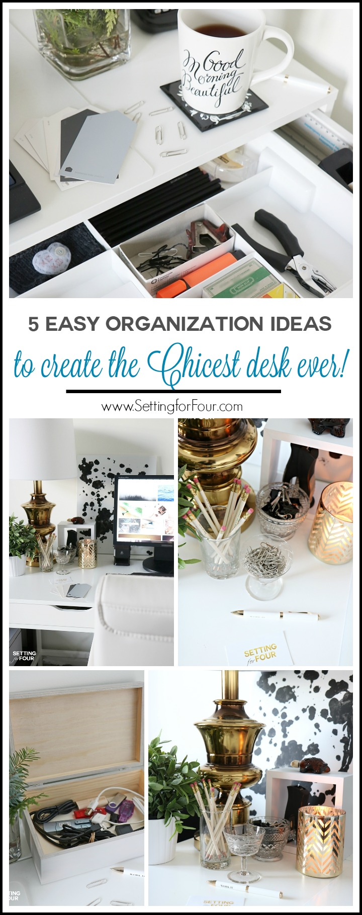 Take control of your desk so you can be more productive! How to declutter and decorate your desk in just 10 MINUTES and 5 super easy organization ideas to create the chicest desk ever!