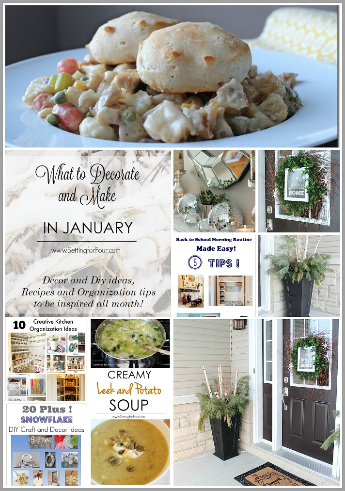 January can be a bit of a let down after the busy- ness of the holidays! Here are 10 things to decorate and make in January! Lots of winter decor and DIY projects, organization ideas and recipes to give yourself a boost! www.settingforfour.com