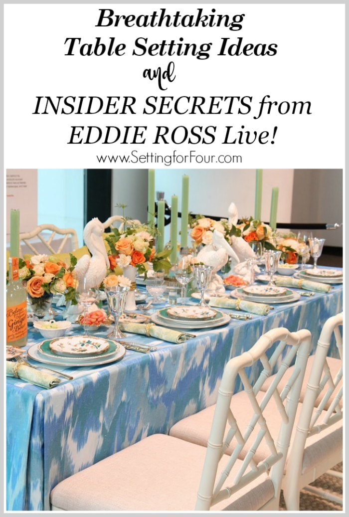 I saw Eddie Ross live and he revealed his insider secrets on how to create a breathtaking table setting for a memorable dining experience! And I'm sharing them all with you! Discover his secret tips on choosing chic dinnerware, plates, cutlery, glasses, centerpiece and exciting tabletop decor ideas. You'll LOVE these entertaining tips! For dinner party or wedding reception. www.settingforfour.com