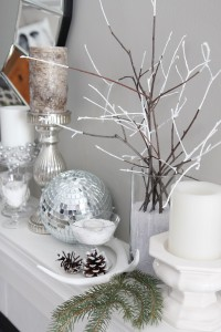 Winter mantel decorating ideas. www.settingforfour.com