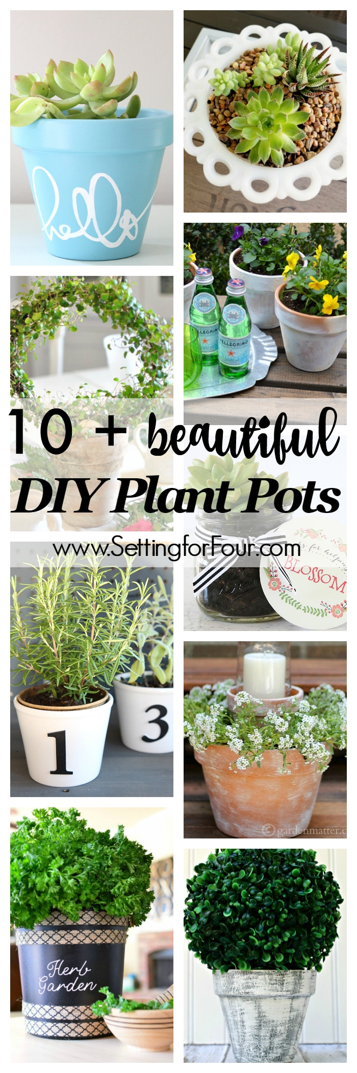 10 plus beautiful DIY Plant Pots - Home and Garden ideas! Save money by making your own planters and pots for your herbs, succulents and flowers.