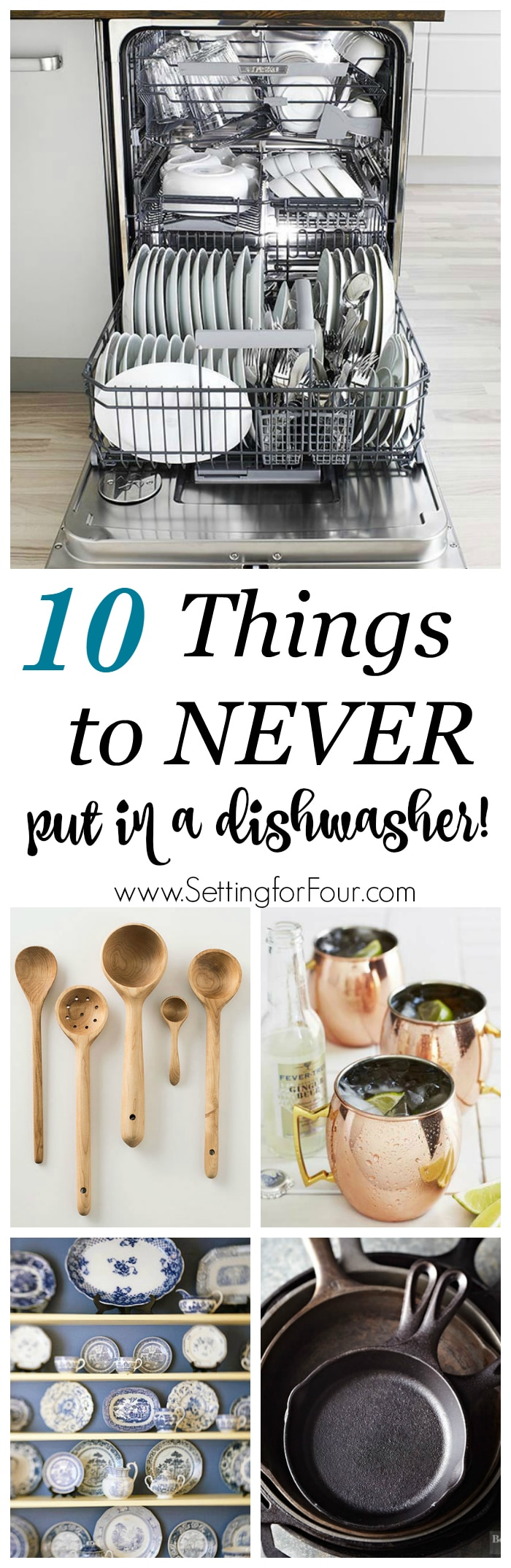 Dishwashers are an amazing convenience but did you know that there are many items that can get completely damaged in a dishwasher? Let's take a look at these need-to-know cleaning tips: the 10 things you should never put in a dishwasher and the reasons why!