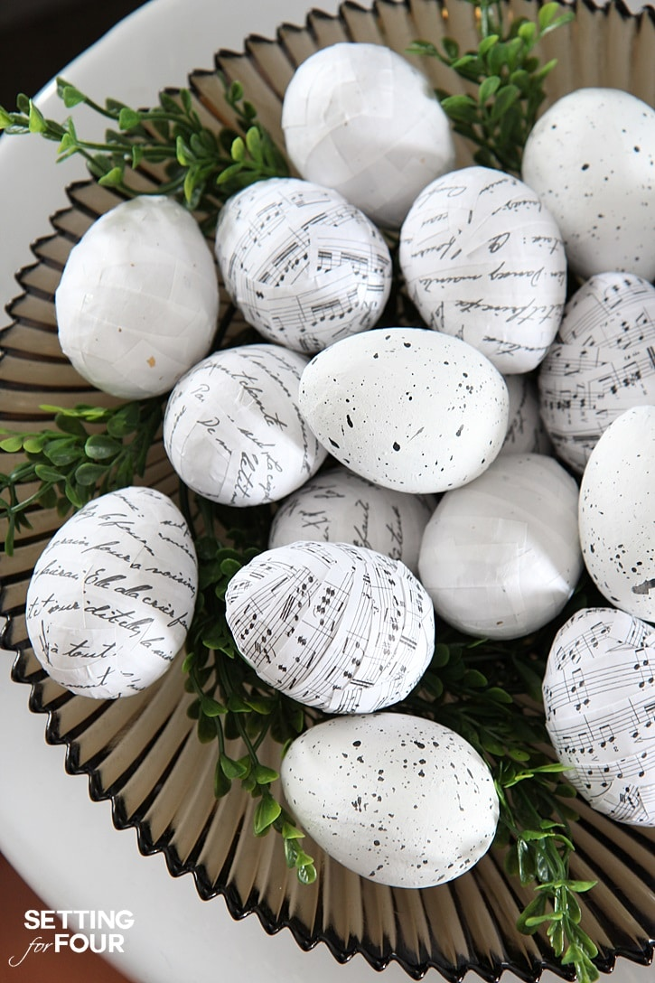 How to make easy and BEAUTIFUL book page and music notes Mod Podge Easter eggs! DIY Tutorial and supply list included.