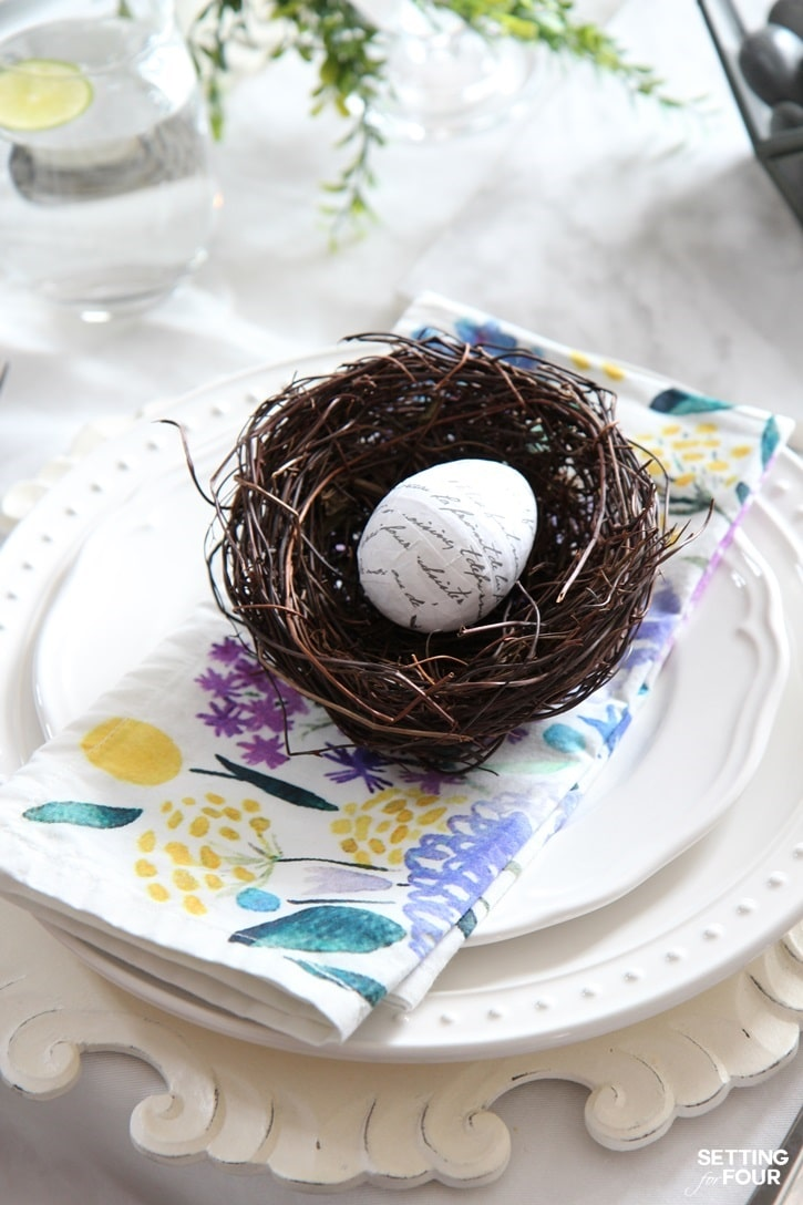 Easter table setting ideas with diy Easter eggs! www.settingforfour.com