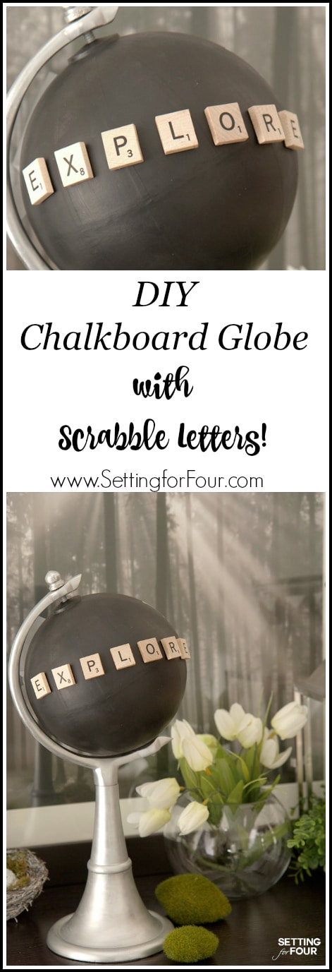 Make a fabulous Chalkboard Globe in a jiffy with a globe, paint and Scrabble letters! Just 4 easy steps is all it takes to turn an old globe into this beautiful decor accessory.