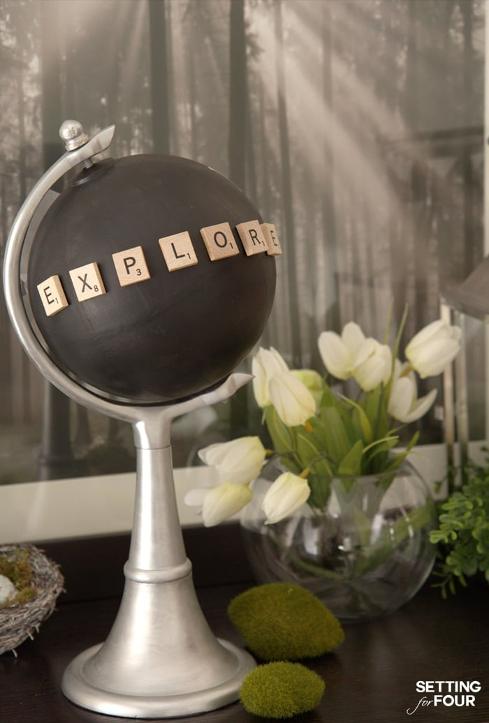 Make a fabulous Chalkboard Globe in a jiffy with a globe, paint and Scrabble letters! Just 4 easy steps is all it takes to turn an old globe into this beautiful decor accessory. Customize it by spelling out a special word with scrabble letters. The chalkboard paint allows you to write notes or draw pictures too - how fun!