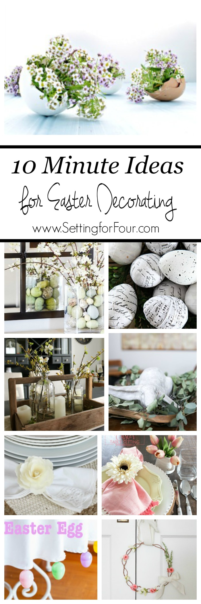 Quick and Easy Easter Decorating Ideas. Decorate your home for Spring in a jiffy! See all the beautiful DIY ideas at www.settingforfour.com