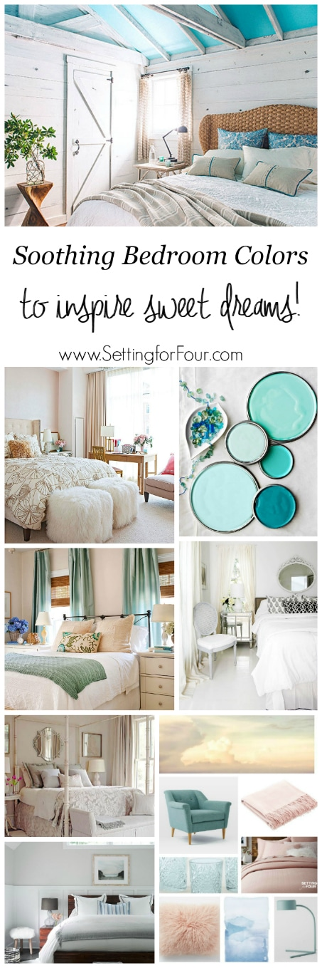 Soothing Bedroom Color Schemes: Looking for color inspiration for your bedroom? See these relaxing paint colors and color palettes to inspire sweet dreams! www.settingforfour.com