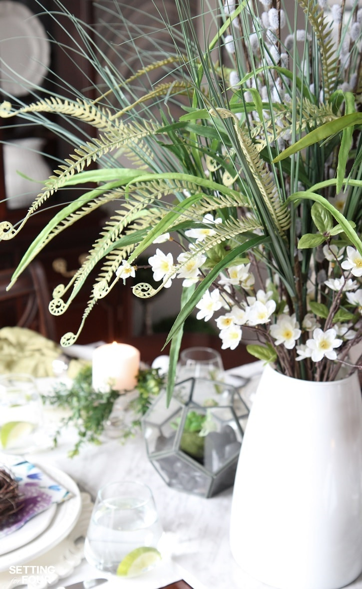 See how to create this pretty spring centerpiece! Setting for Four