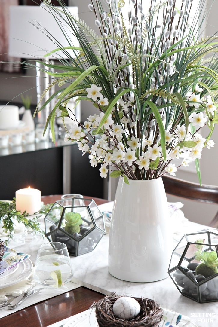 Spring Fern Centerpiece idea: Are you craving a cheery Springtime feeling for your home right now? See these 10 minute decor ideas to transition your home for Springtime!