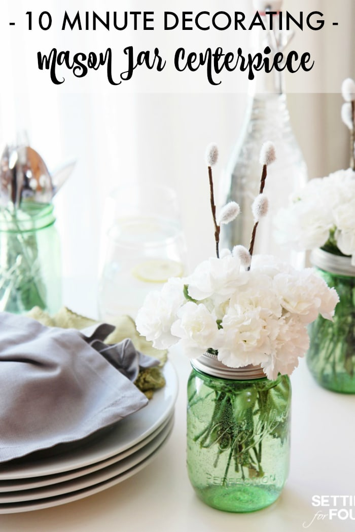 Learn how to make this easy Floral Mason Jar Centerpiece! 10 minute is all it takes to make one! They are perfect for wedding tables, Mother's Day brunch, hostess gift and everyday table decorating.