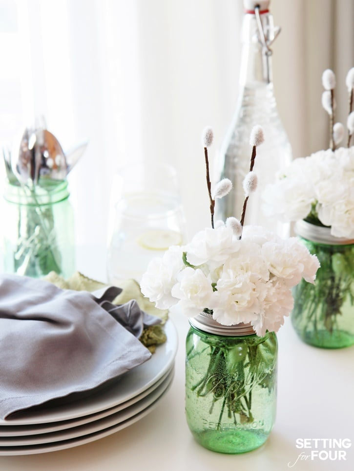 For the home: 10 minute mason jar centerpiece idea! Perfect for weddings and spring table decor!