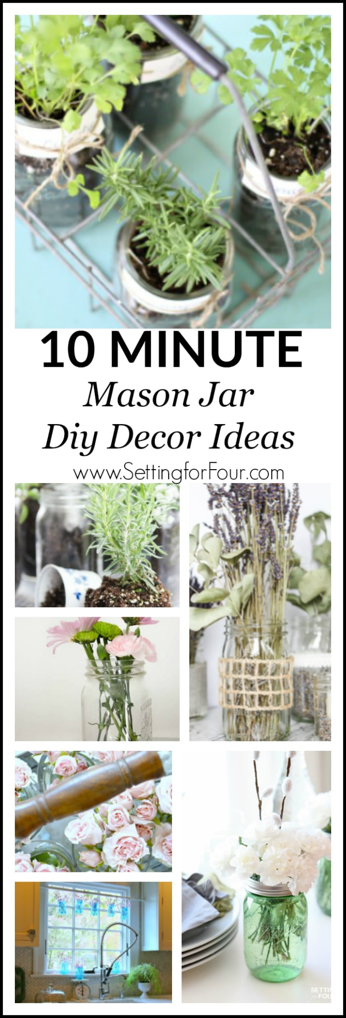 Learn how to make quick and easy 10 minute table centerpieces, baskets and hanging displays with herbs and flowers using new and vintage mason jars! These gorgeous mason jar decor ideas are perfect for wedding and bridal showers, Mother's Day gifts, Mother's Day brunch table centerpieces and hostess gifts!