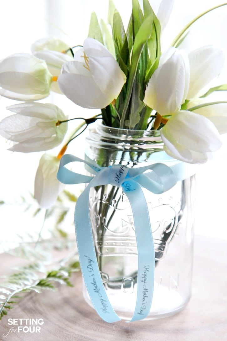 Mason Jar Mother's Day gift with ribbon