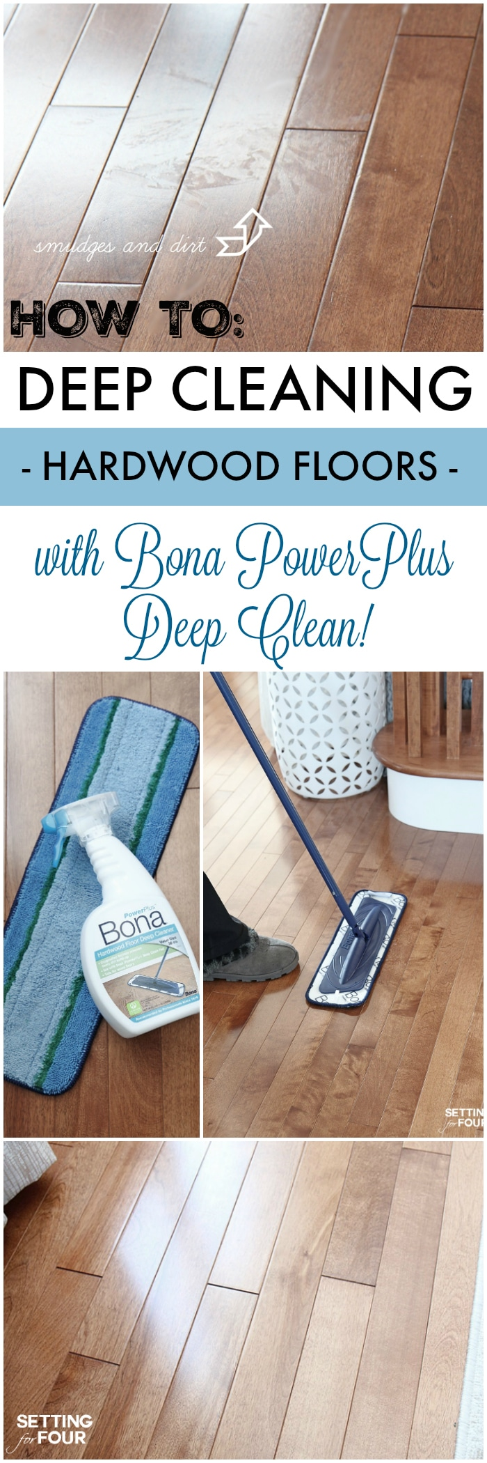 How to: deep cleaning hardwood floors to a shine the easy way! Get the floor care tips at SettingforFour.com