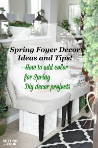 Looking to get a grand foyer look but not sure how? Come see my Spring Foyer - I'm sharing lots of diy home decor ideas that will add vigor to your vestibule! Get inspired with these beautiful spring decorating ideas!