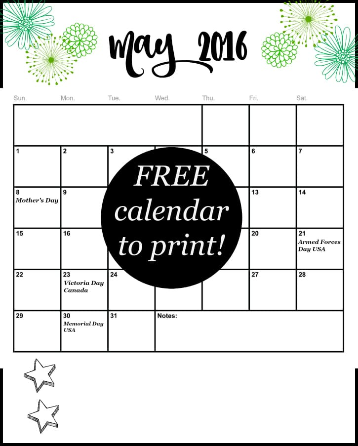 Stay organized and never miss an important appointment or holiday! Get your Free calendar for May 2016 at Setting for Four.