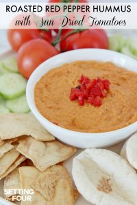 Roasted Red Pepper Hummus with Sun-Dried Tomatoes: Bored with your every day snack routine? Mix it up with the NEW BUSH'S® Hummus Made Easy in a pouch - a homemade, creamy hummus recipe that you can whip up in just three simple steps: Pour, Pouch, Pulse! Just 5 minutes to prepare. You'll love this easy vegetarian recipe - makes a quick and delicious party dip and spread.