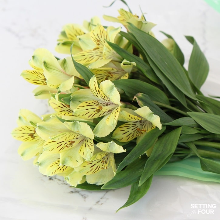 Alstroemeria flowers also called Peruvian lily make beautiful flower arrangements and can be found at the grocery store - they are so inexpensive!