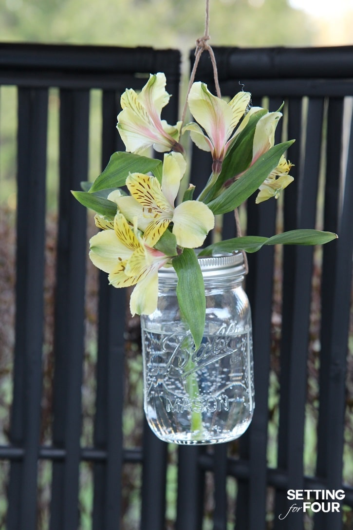 Outdoor Hanging Flower Mason Jars Setting For Four
