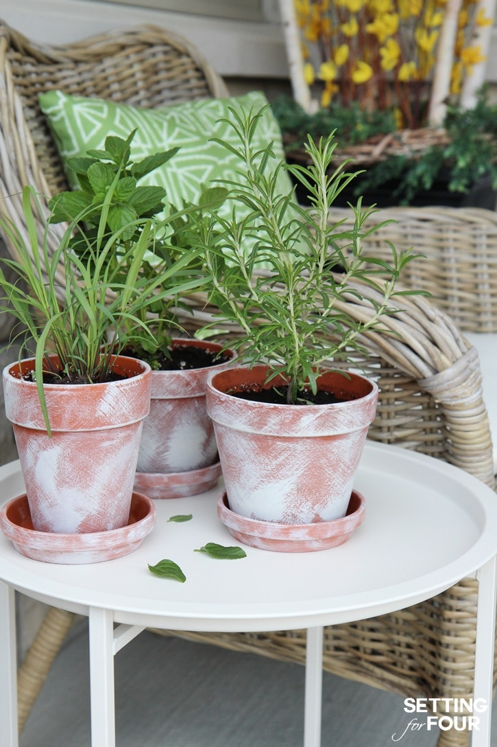 EASY DIY distressed plant pots - perfect for flowers, succulents and herbs!