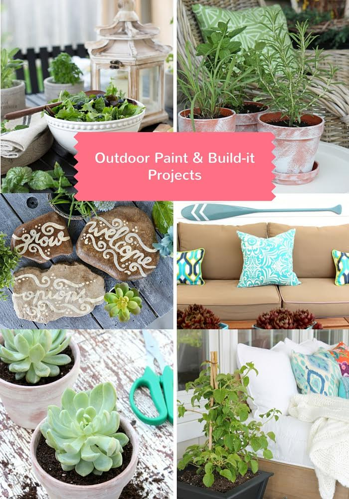 6 Beautiful Exterior Home Decor Ideas: See how to make these gorgeous OUTDOOR PAINT AND BUILD-IT DIY PROJECTS to decorate your porch, deck, patio or balcony!