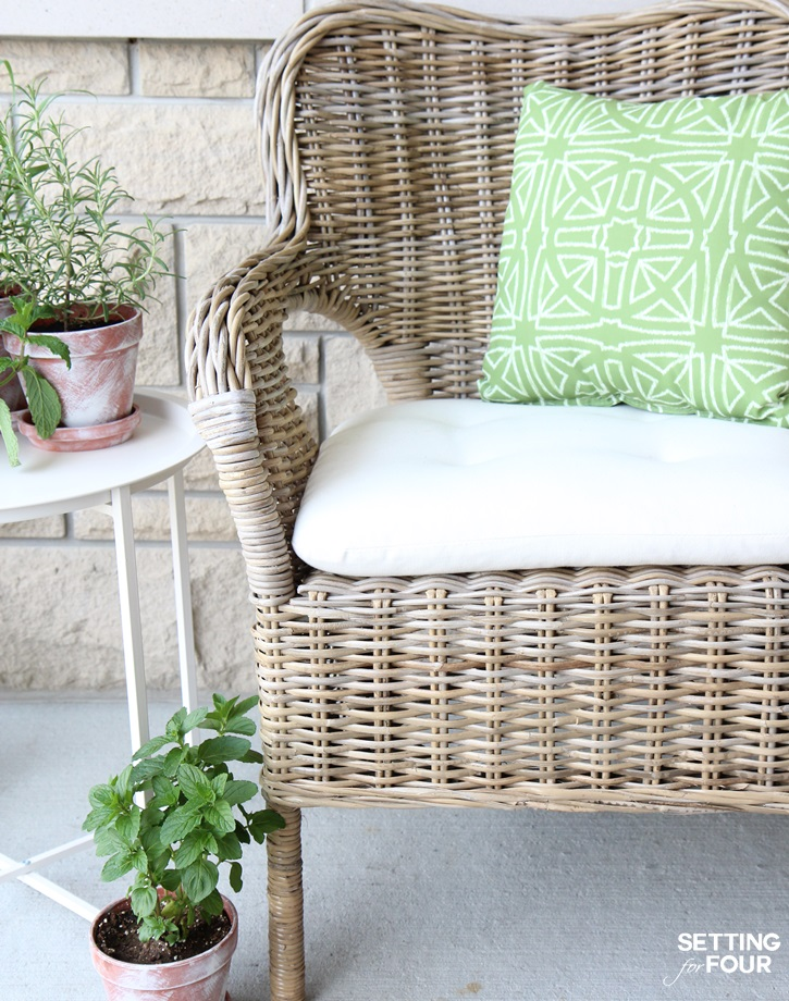 GENIUS! Learn How to Make Outdoor Waterproof Cushions in a jiffy with this DIY Hack! Turn indoor seat cushions and pillows into outdoor waterproof versions in just minutes with this easy DIY treatment!
