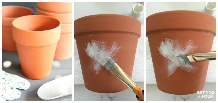See how to make easy DIY Aged Terra Cotta Plant Pots for your home and outdoor garden. For herbs, flowers and succulents!