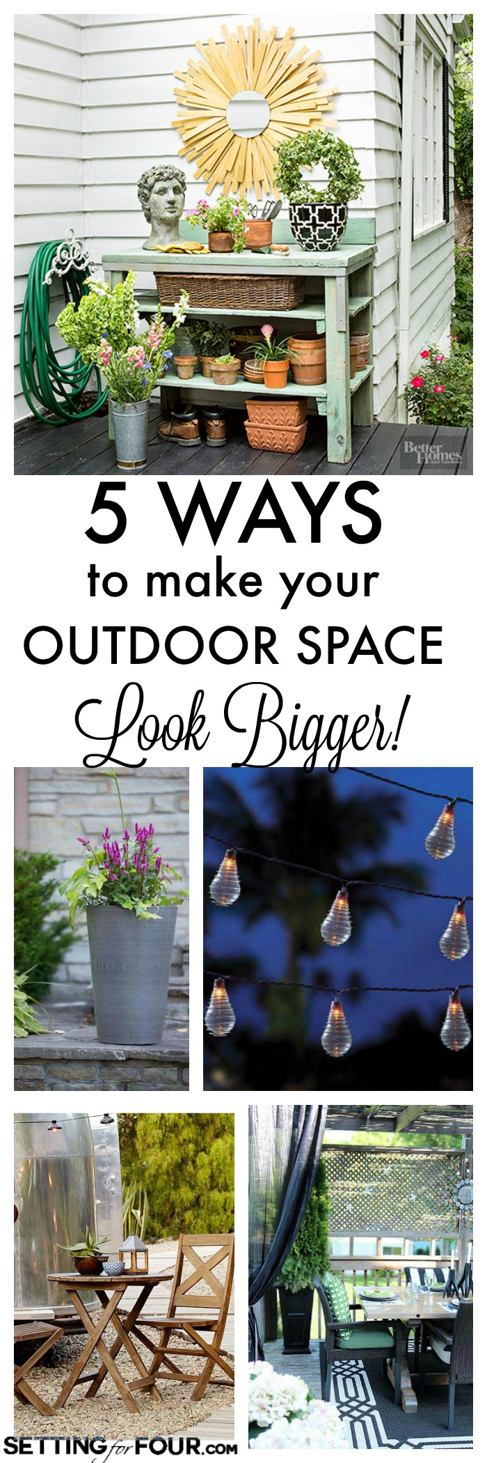 How to fake more space on your outdoor patio or deck! See these 5 instant ways to make your outdoor space look deceptively large at www.settingforfour.com