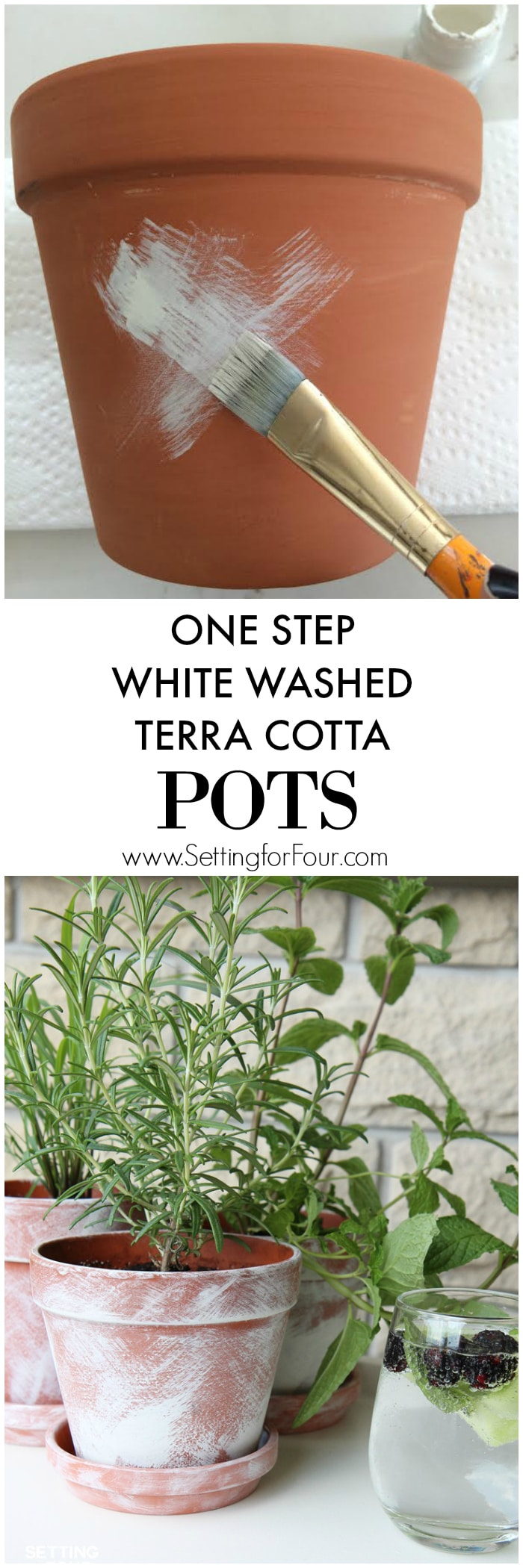Learn how to make QUICK AND EASY DIY White Washed Terra Cotta Pots in just 10 minutes to plant herbs, flowers and succulents! See the tutorial and supply list to make these painted plant pots for your home or as beautiful gift ideas! Use them to decorate your home indoors or outside on your porch, patio or deck.