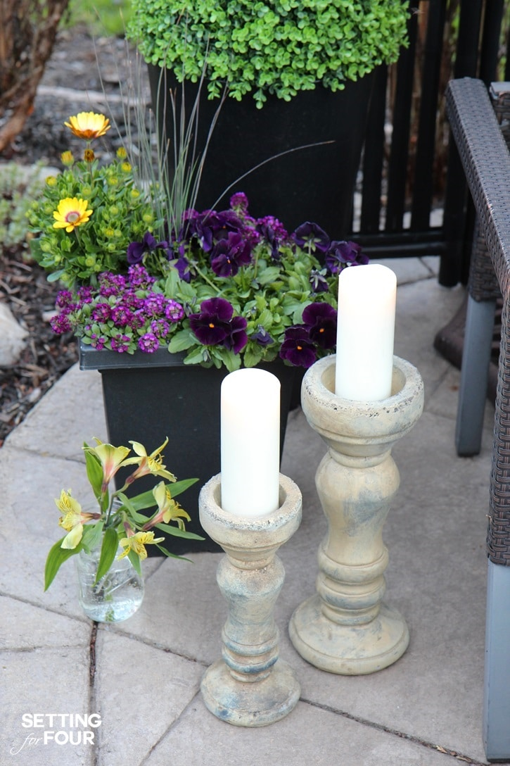 Outdoor container gardening idea using purple and yellow flowering plants.