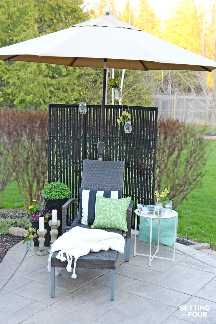 Outdoor DIY Decor Ideas to make a cozy reading and lounging nook outside!