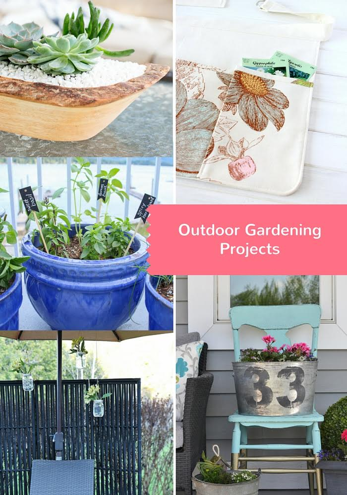 See 5 gorgeous outdoor diy gardening projects to make! Ideas using succulents, herbs and flowers!