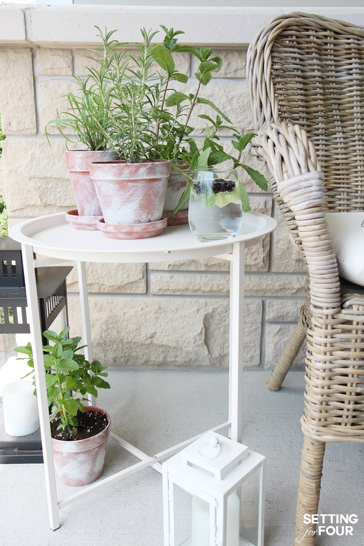 Diy White Washed Terra Cotta Pots Setting For Four