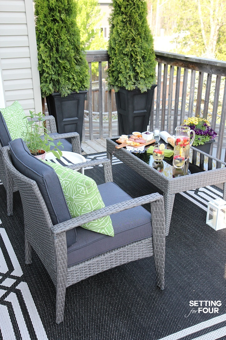 Like this look? Check out the complete Decor and Furnishings Resource List for this beautiful Outdoor Deck Seating Area to see where you can get these items for your home!