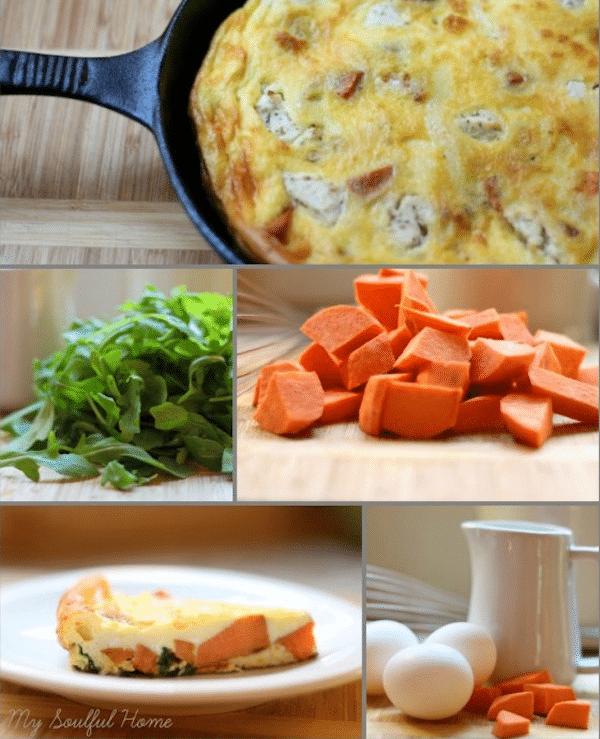 Sweet Potato Arugula Frittata recipe - perfect for breakfast, brunch, lunch or light dinner!