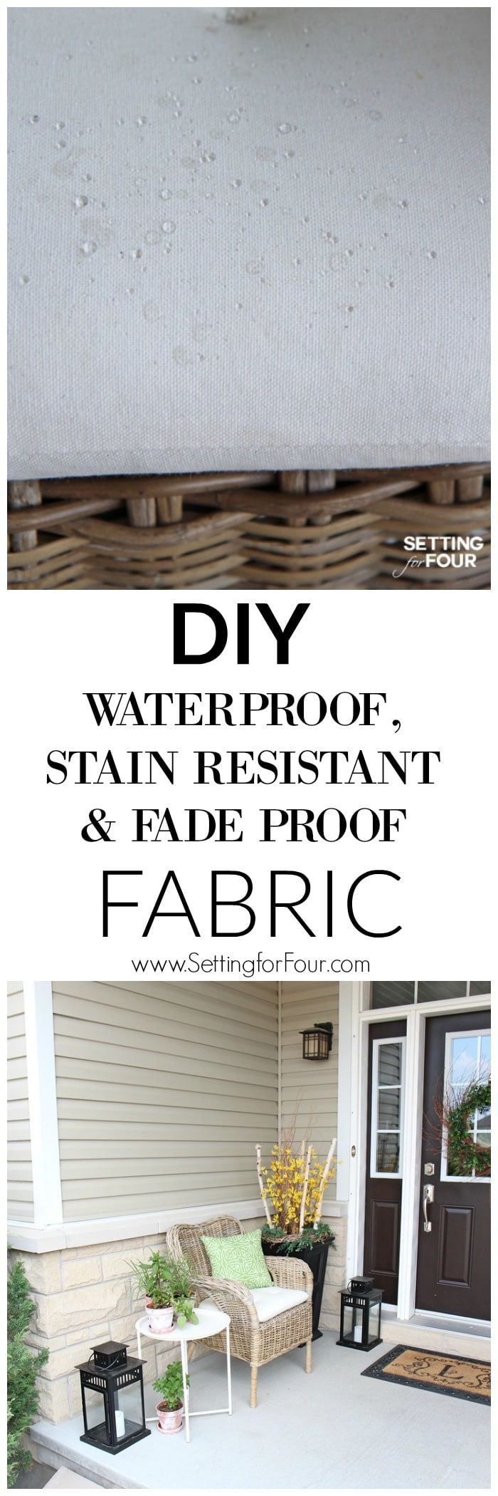 GENIUS! Easy DIY waterproof, stain resistant and fade proof fabric! Fabric is super durable for indoors or outdoors but still so soft. Great for kids and pets.