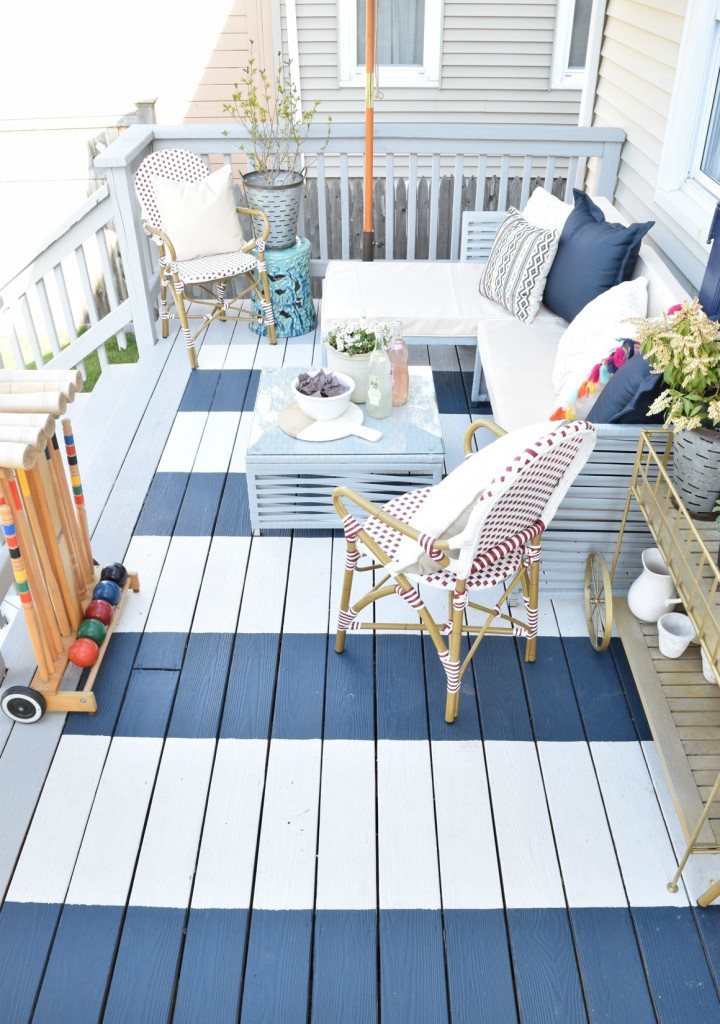 Instead of staining your deck - try painted stripes! Stripe Painted Deck