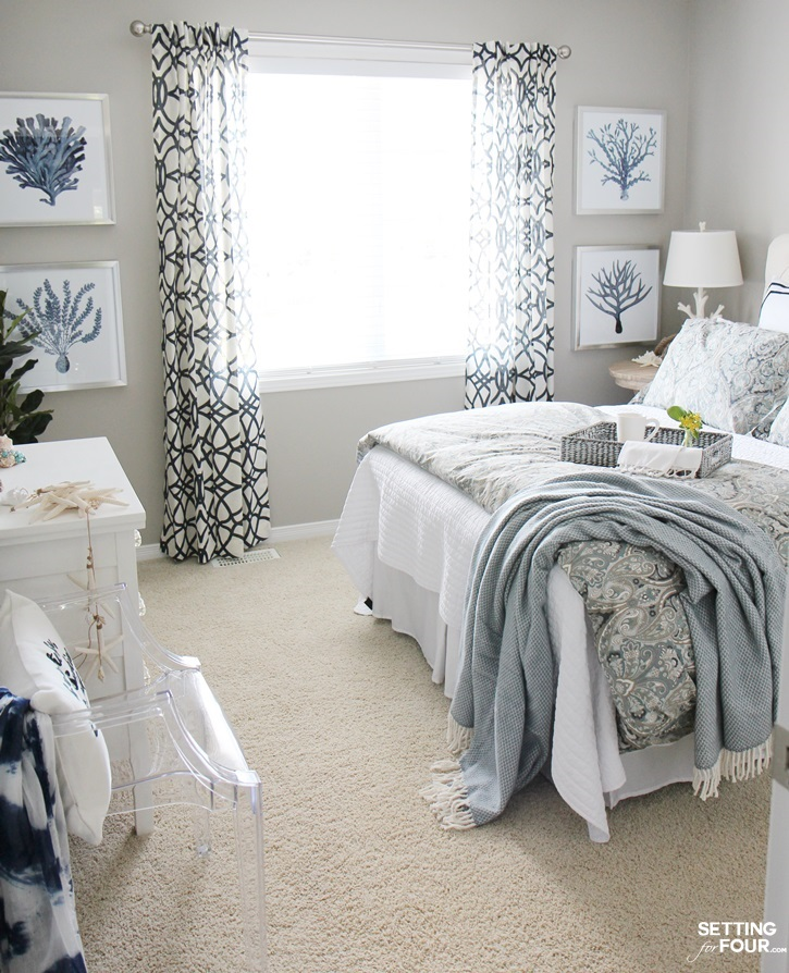Bedroom Design and Refresh: I'm so excited to show you my guest room refresh that's now complete with a new swoon worthy headboard, bedding, wall art and decor! I'm sharing the design process and the items I chose for the space so you can see how I created this look and how layering decor is so important when styling a room and home. www.settingforfour.com