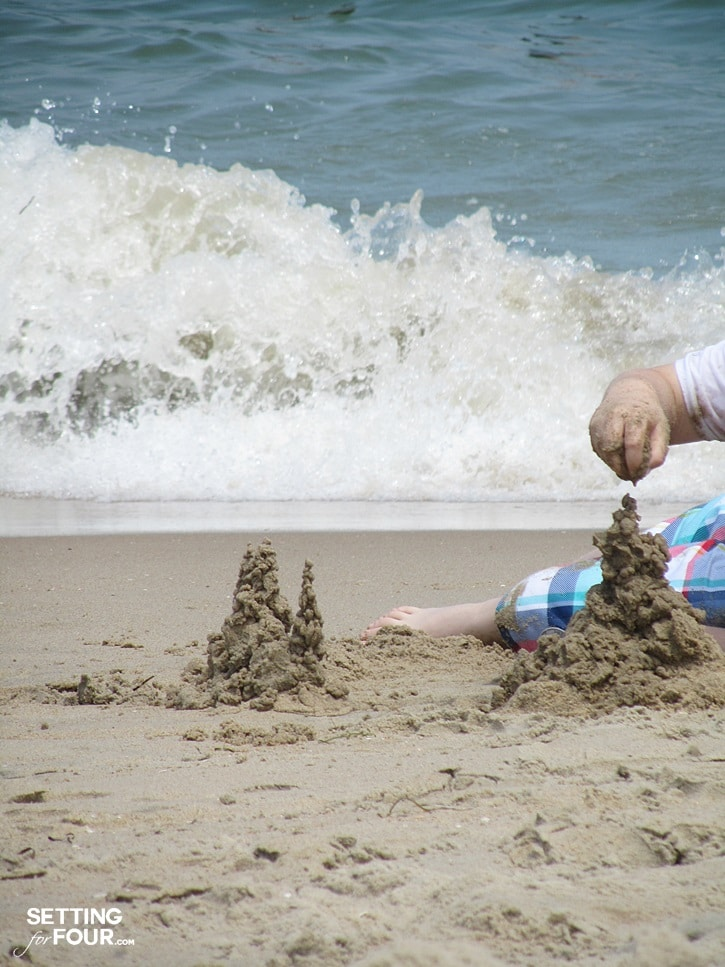 Building sand castles on the beach