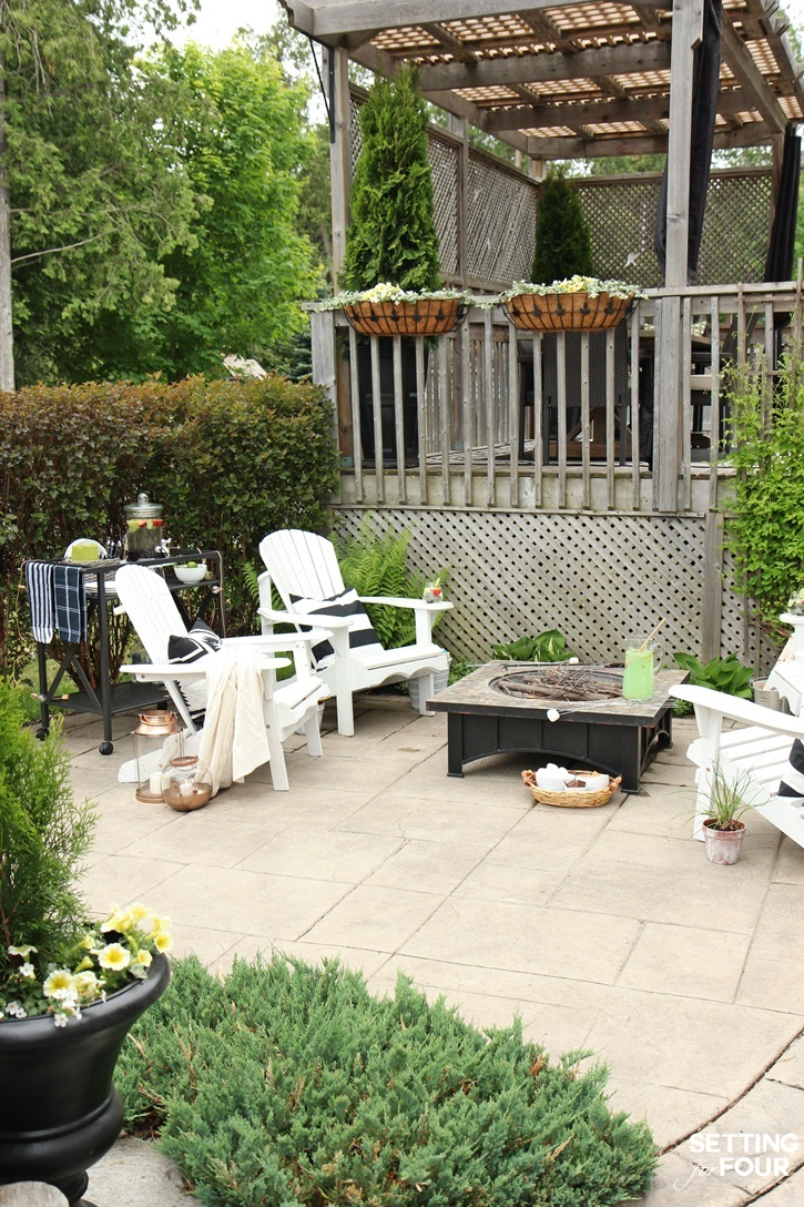 Like this look? Check out the complete Decor and Furnishings Resource List for this beautiful Fire Pit Seating Area to see where you can get these items for your home!