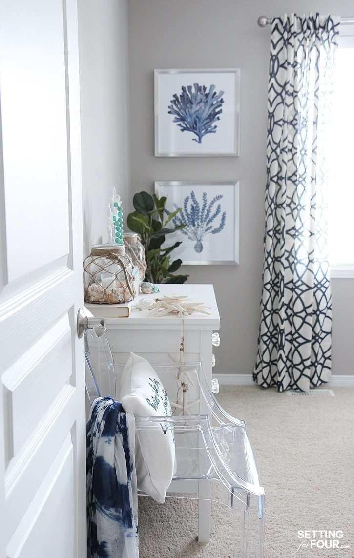Guest Bedroom Decor Ideas: I'm so excited to show you my guest room refresh that's now complete with a new swoon worthy headboard, bedding, wall art and decor! I'm sharing the design process and the items I chose for the space so you can see how I created this look and how layering decor is so important when styling a room and home. www.settingforfour.com