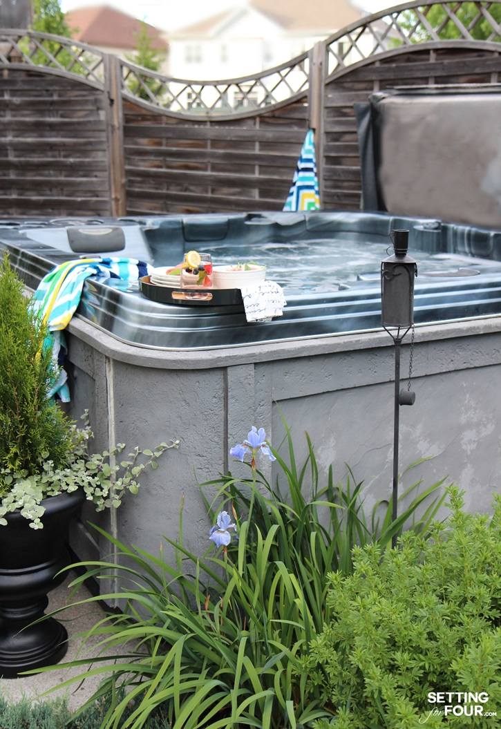 Outdoor hot tub oasis