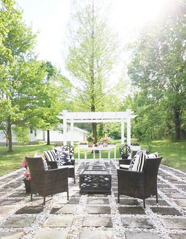Create a DIY crushed stone and paver patio: English Inspired Stone Paver Patio Makeover