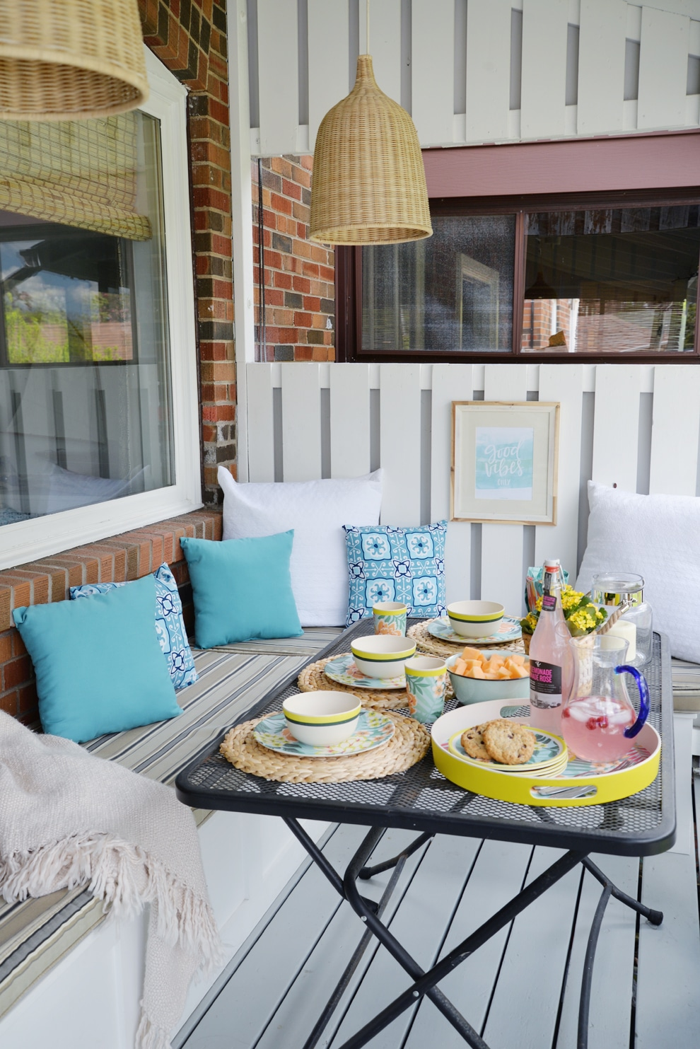 Outdoor Decor Idea Number 9: Add benched seating, instead of chairs, to your outdoor dining area: Porch Decorating Ideas